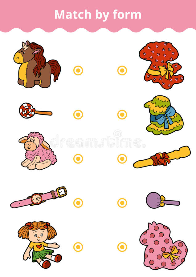 Free Matching Game, Education Game For Children. Connect Girl`s Toys Stock Photo - 91685880