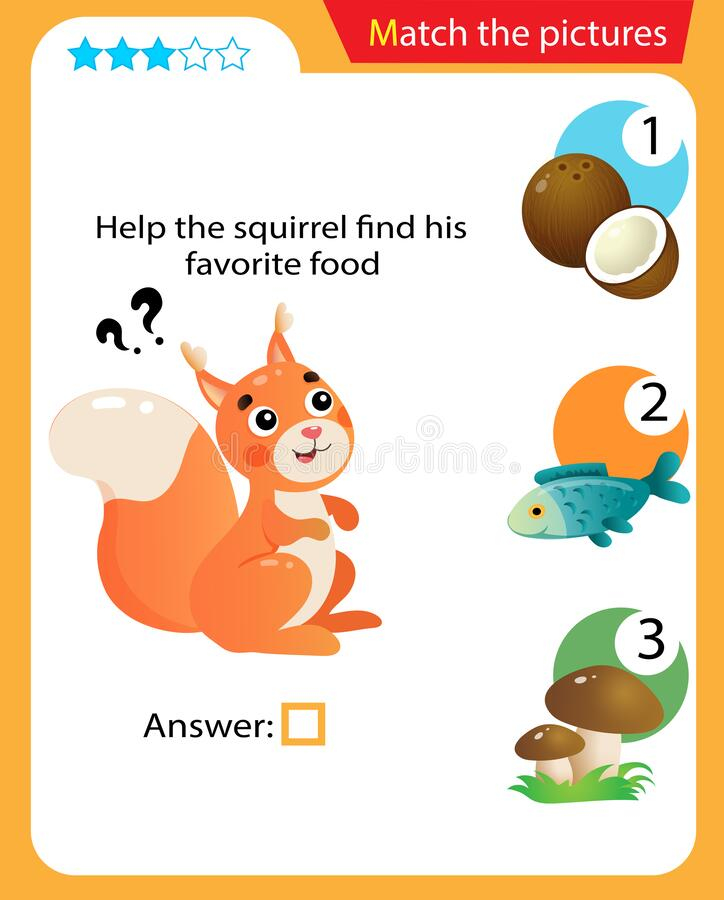 Free Matching Game, Education Game For Children. Puzzle For Kids. Match The Right Object. Help The Squirrel Find His Favorite Food Stock Photo - 178732240