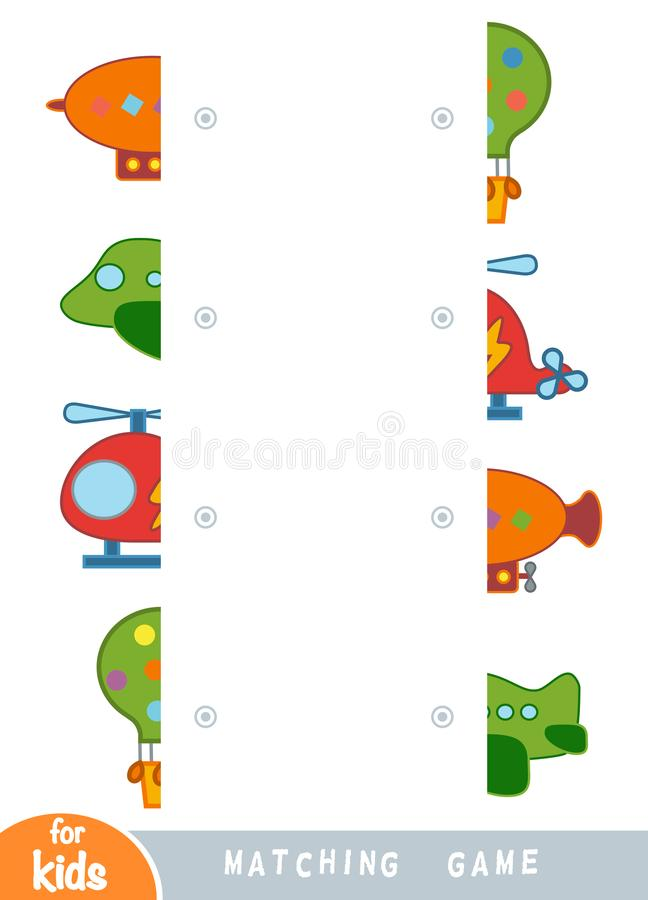 Matching game, educational game for children. Match the halves. Set of transport objects royalty free illustration