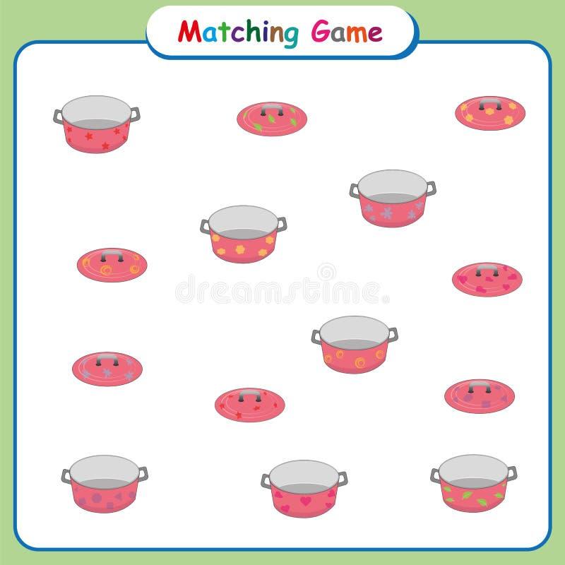 Matching game for kids, worksheet for preschool children, educational activities royalty free illustration