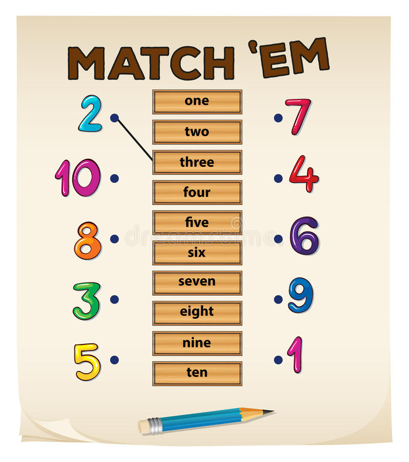 Matching game with numbers vector illustration