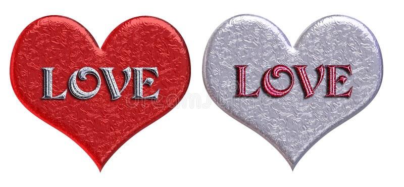 Download Matching 'LOVE' Hearts stock illustration. Illustration of metallic - 59349