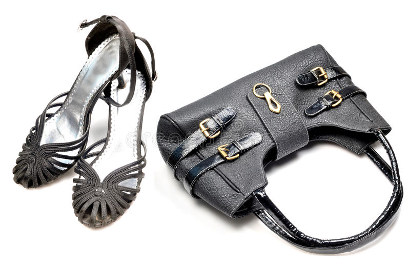 Matching purse and sandals stock images