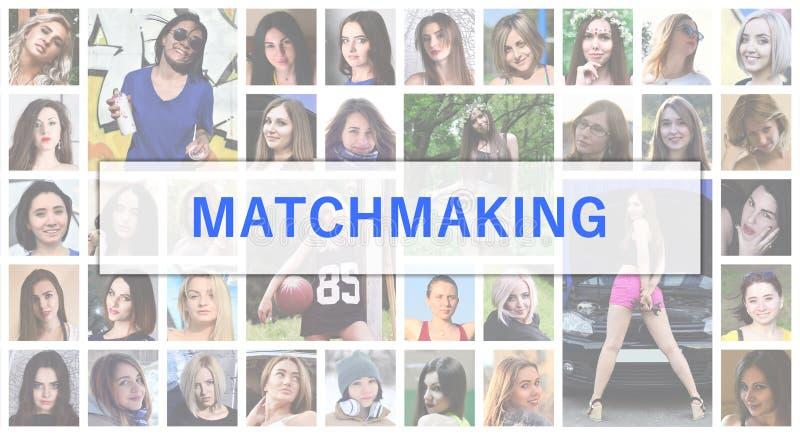 matchmaking Il testo di titolo è descritto sui precedenti di corrente alternata illustrazione vettoriale