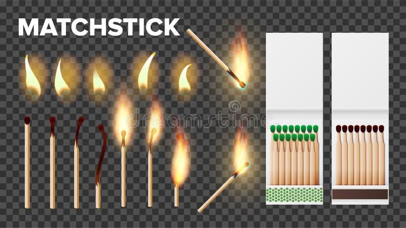 Matchs brûlants dans les pochettes d'allumettes, ensemble de vecteur de flamme illustration libre de droits