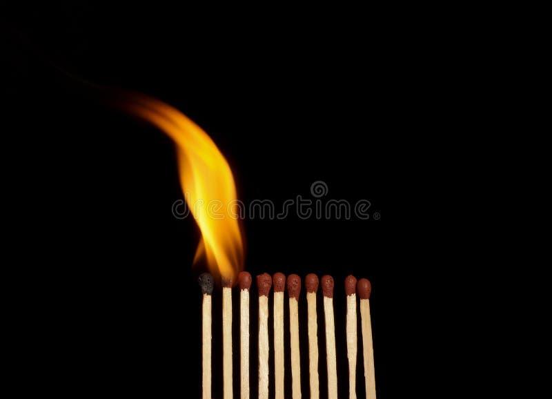 Matchs brûlants photos libres de droits