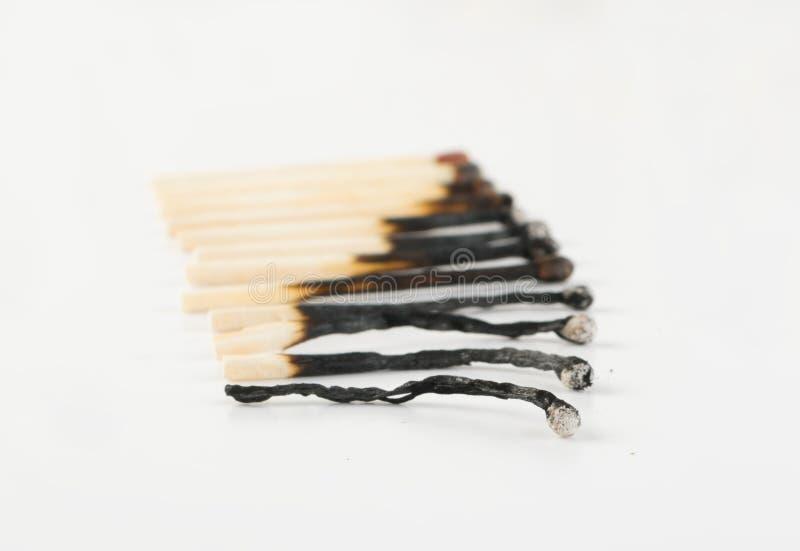 Matchs ou bâtons brûlés de match photo stock