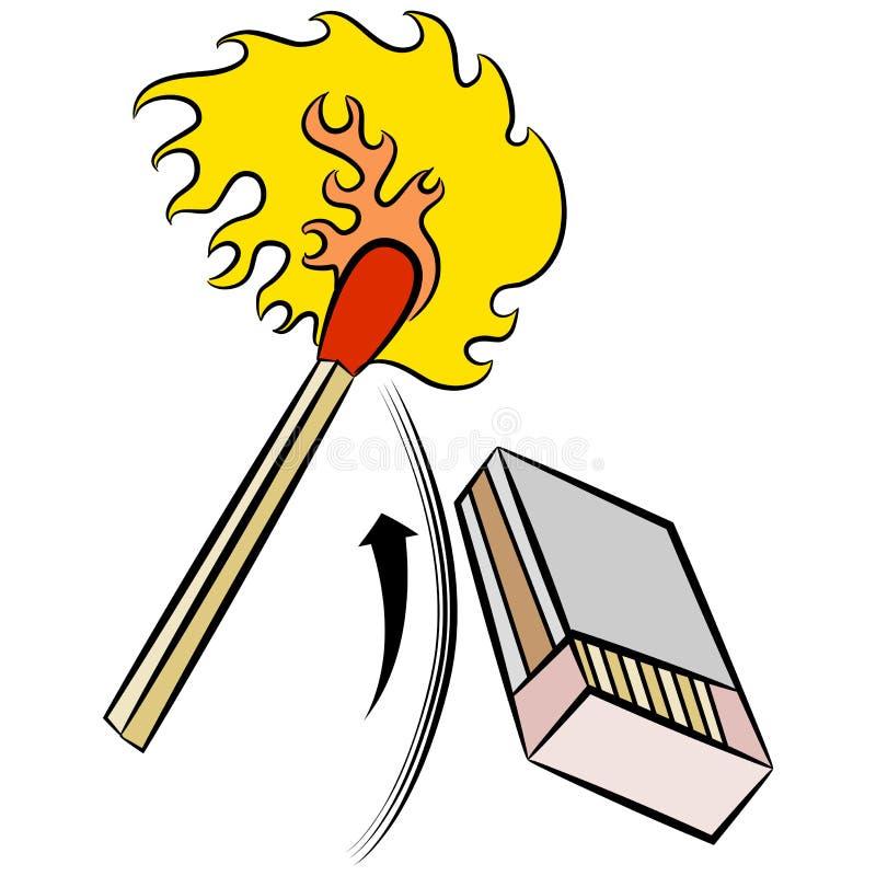 Matchstick światła krzesania Matchbox ilustracji