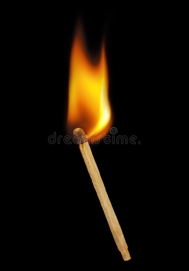 Matchstick on a black background. stock image