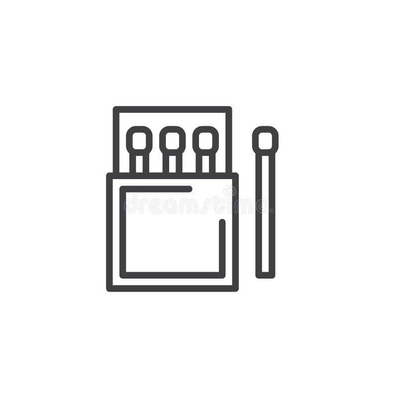 Matchstick i matchbox konturu ikona ilustracja wektor