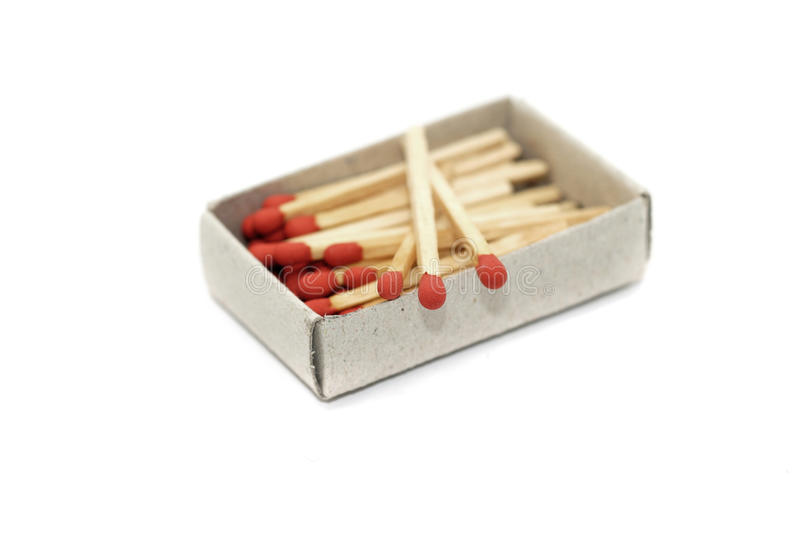 Matchstick in matchbox isolated on white. Background royalty free stock photo