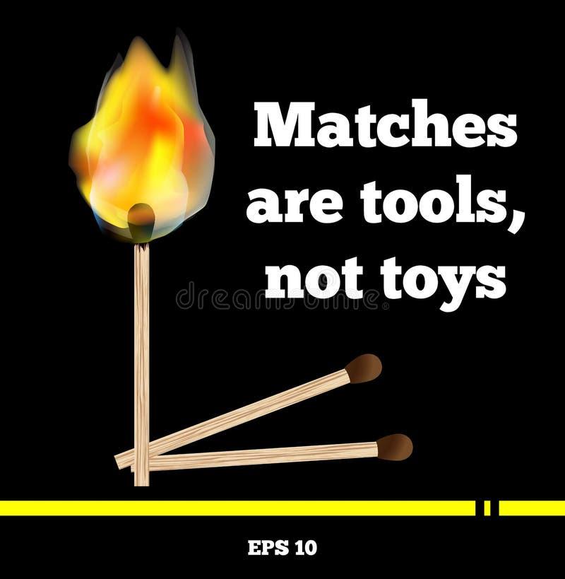 Matchstick palenie z płomieniem i dymem na czarnym tle Piękny jaskrawy pożarniczy wektorowy format EPS 10 Wpisowi dopasowania są  royalty ilustracja