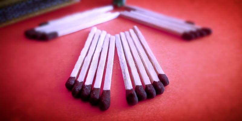 Matchstick sety z piękną prezentacja zapasu fotografią zdjęcie stock