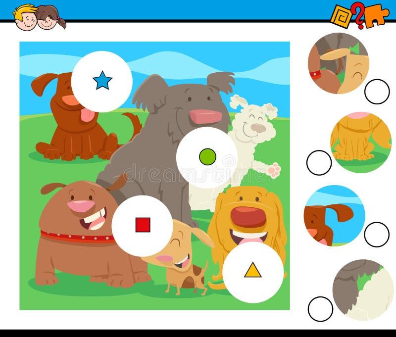 Matchstycken förbryllar med komisk hundkapplöpning stock illustrationer