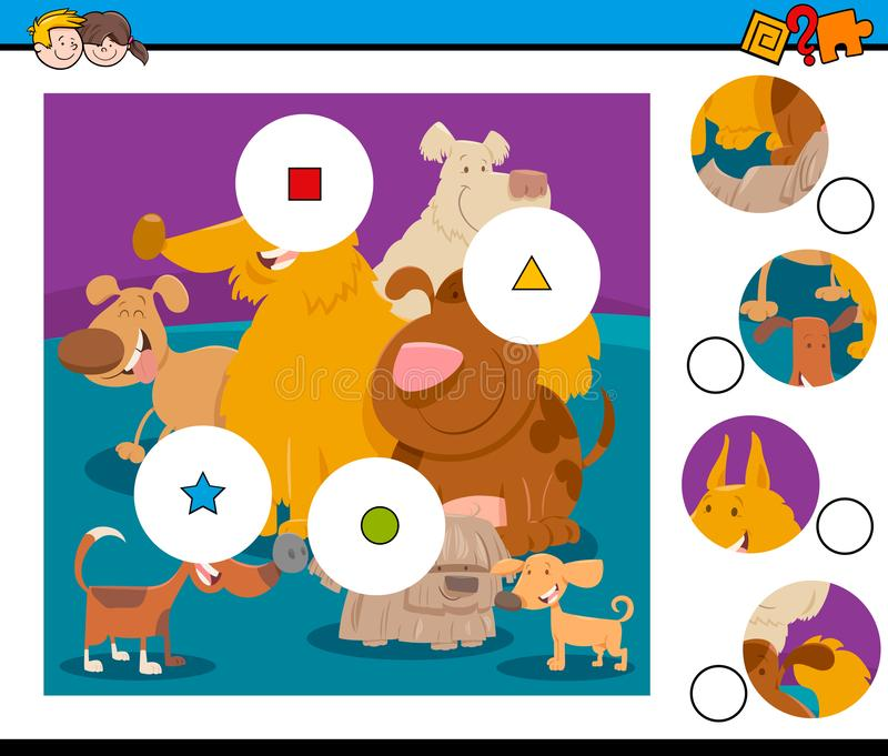 Matchstycken förbryllar med lycklig hundkapplöpning royaltyfri illustrationer