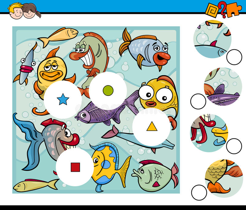 Matchstycklek med fisken vektor illustrationer