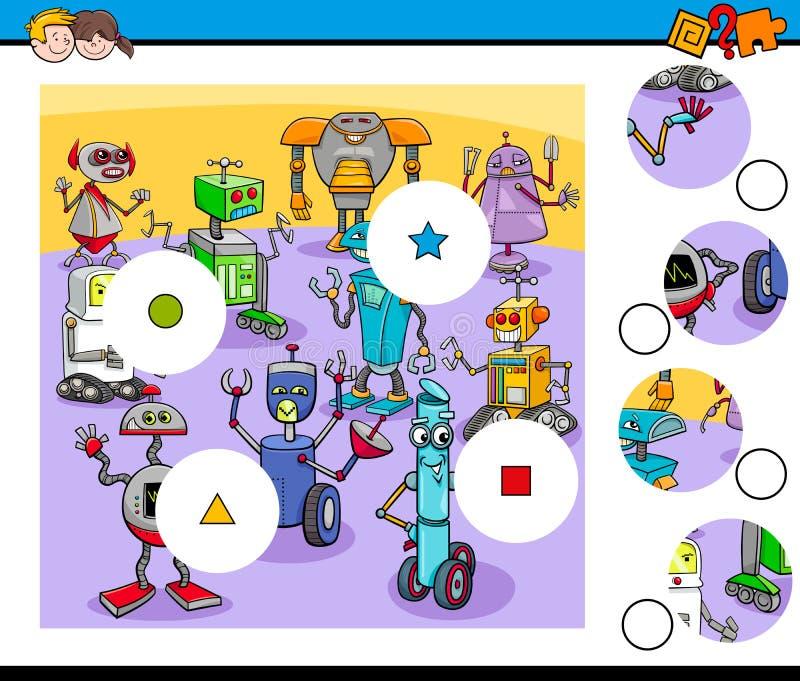 Matchstyckpussel med robottecken royaltyfri illustrationer