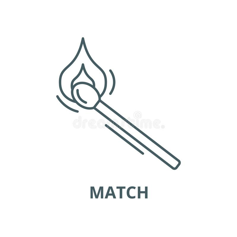 Matchvektorlinie Ikone, lineares Konzept, Entwurfszeichen, Symbol vektor abbildung