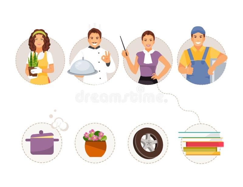 Matchyrken och objekt royaltyfri illustrationer