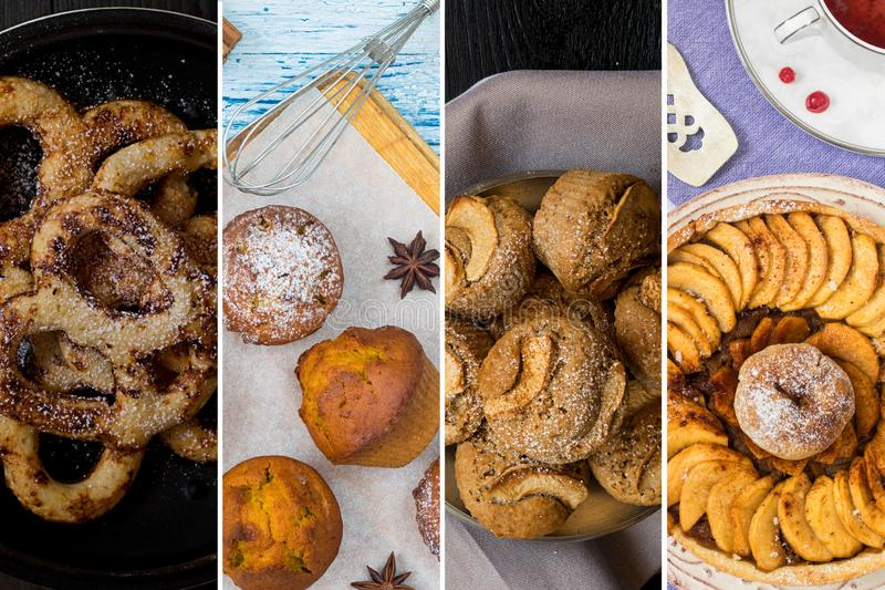 Matcollage från foto av hemmet gjorde bakelse: muffin med torkade frukter och med pumpa som överträffas med sockerpulver, äpple royaltyfria foton