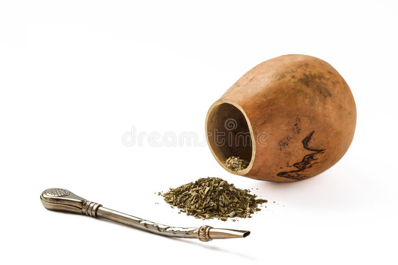 Mate and calabash with bombilla isolated on white. Mate, also known as yerba mate, is a traditional South American caffeine-rich infused drink, particularly in royalty free stock image