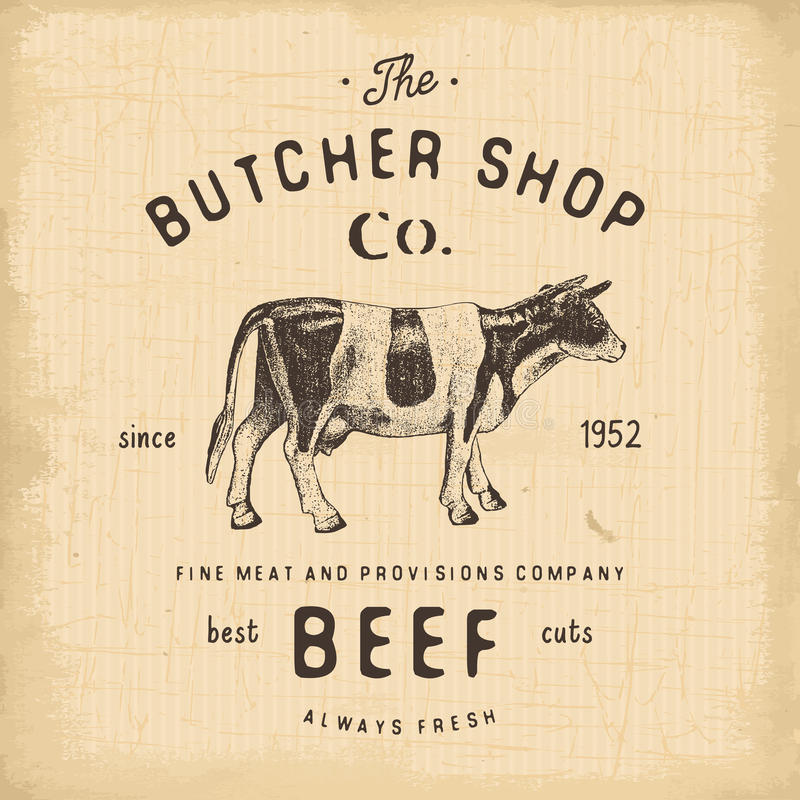 Mate los productos de carne de la carne de vaca del emblema del vintage de Shop, estilo retro de la plantilla del logotipo de la  libre illustration