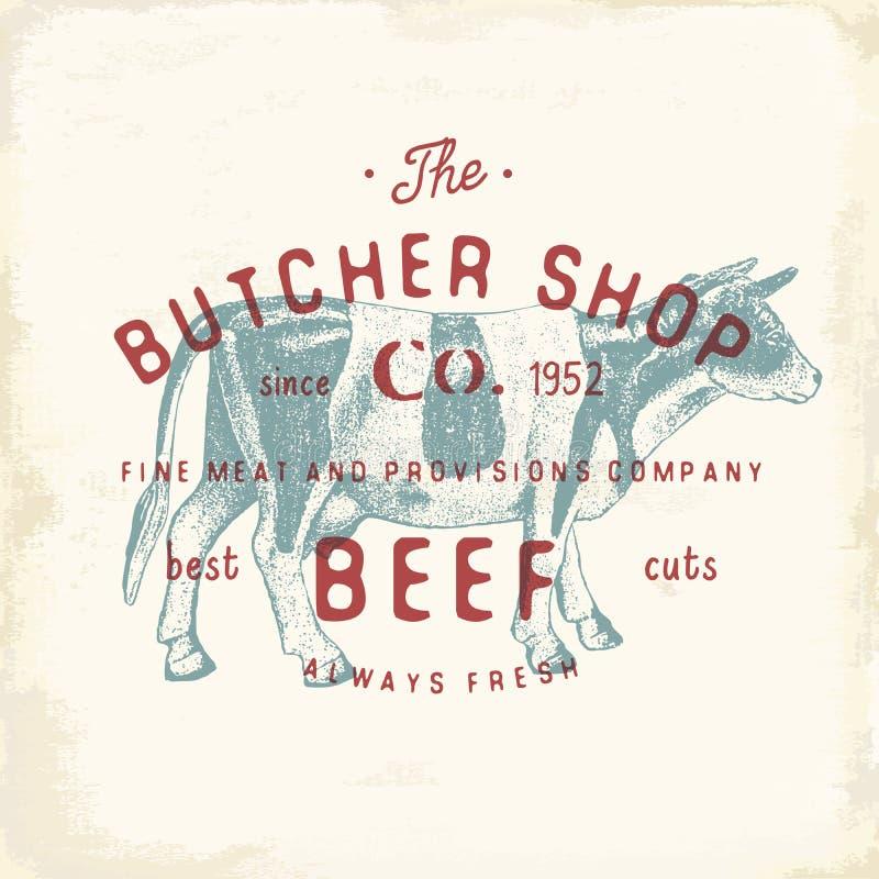 Mate los productos de carne de la carne de vaca del emblema del vintage de Shop, estilo retro de la plantilla del logotipo de la  stock de ilustración