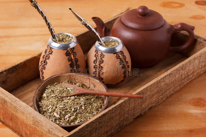 Mate in a traditional calabash gourd with bombilla stock photos