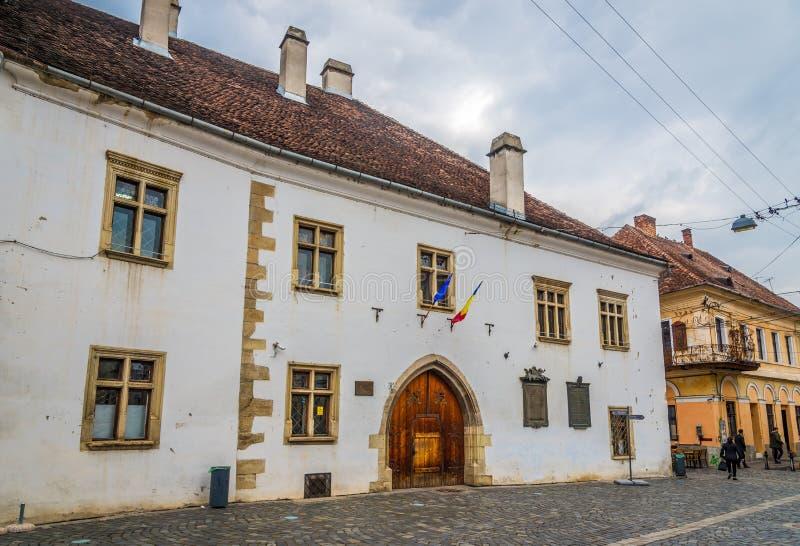 Matei Corvin国王科鲁- Napoca的议院  库存图片