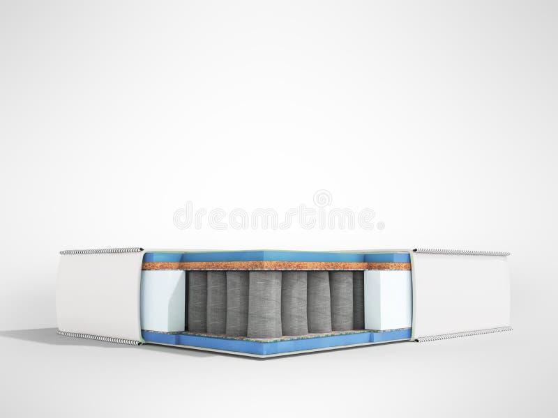 Matelas orthopédique blanc moderne dans la section avec le remplisseur bleu 3d illustration libre de droits