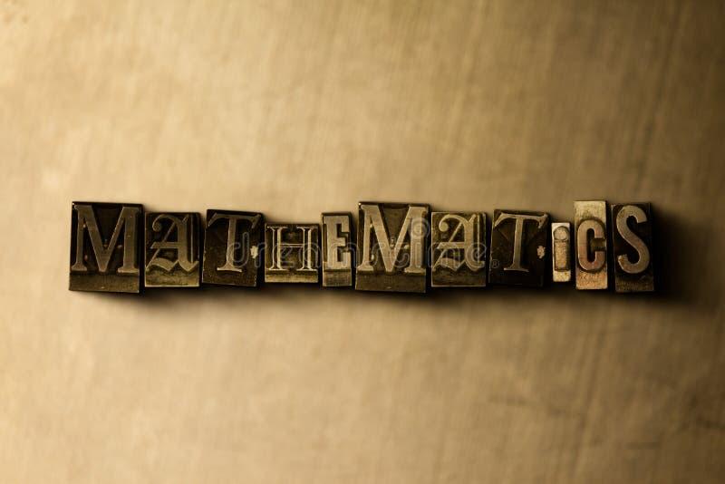 MATEMÁTICA - close-up vintage sujo da palavra typeset no contexto do metal ilustração do vetor