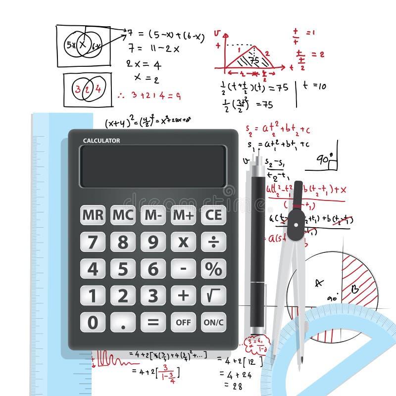 Matemática computacional com calculadoras e acessórios ilustração stock