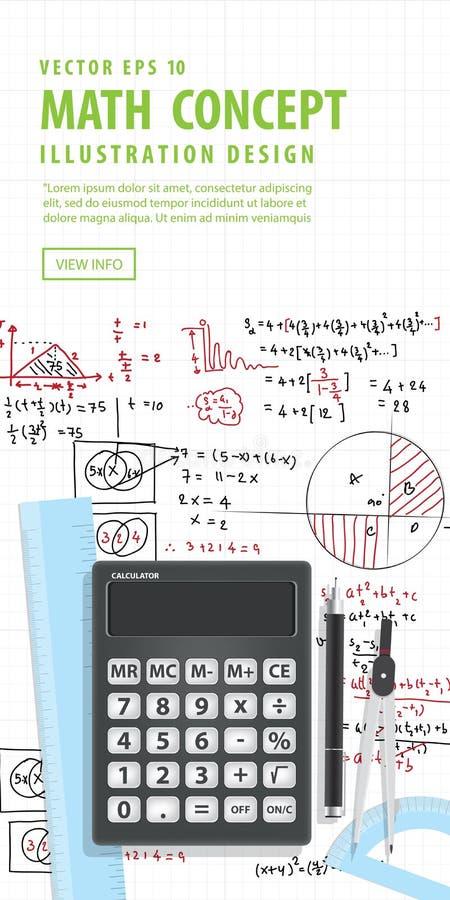 Matemática computacional da bandeira com calculadoras ilustração royalty free