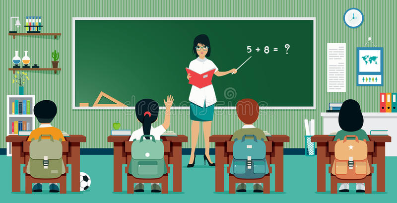 Matemática da sala de aula ilustração stock