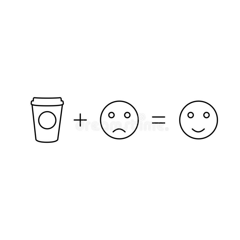 A matemática do café dará a poder o fundo branco ilustração stock