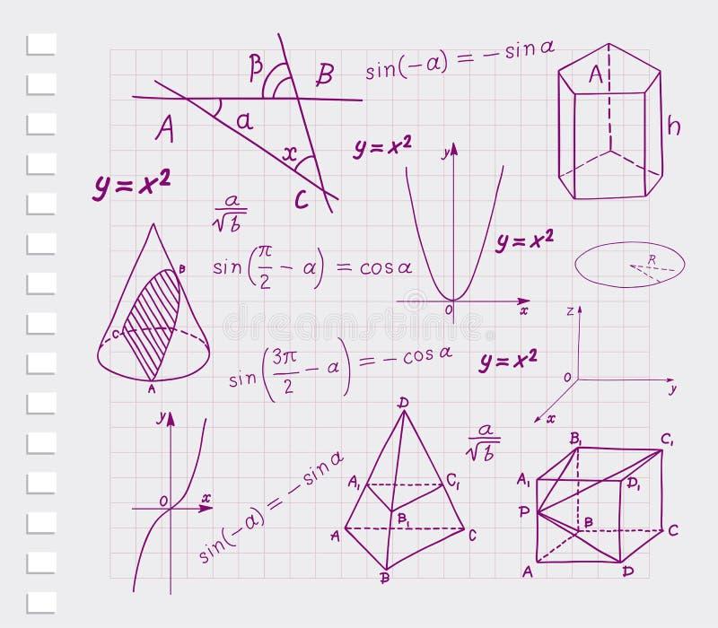 Matemática - esboços geométricos das formas ilustração stock