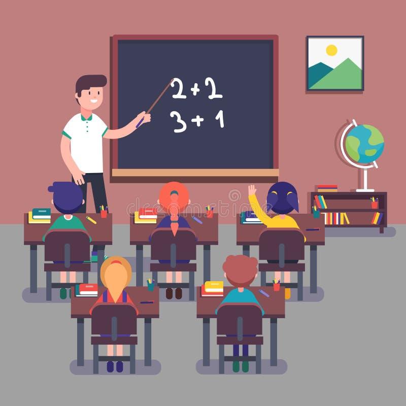 Matemáticas de enseñanza del maestro de jardín de infancia a los pequeños alumnos libre illustration