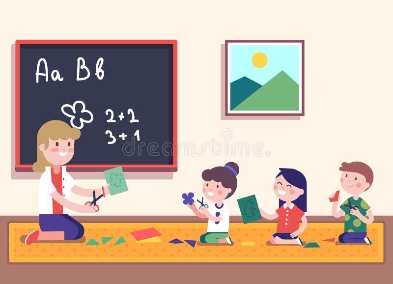 Matemáticas de enseñanza del maestro de jardín de infancia a sus alumnos ilustración del vector