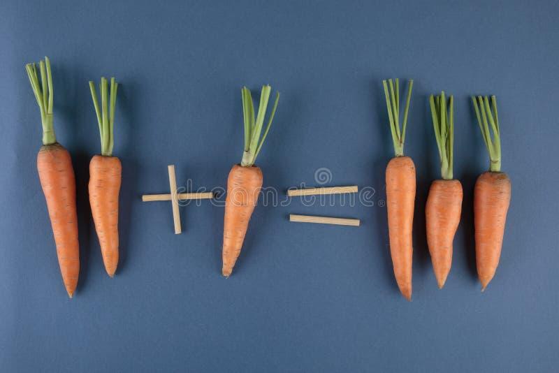 Matemáticas de las zanahorias y de los niños fotos de archivo libres de regalías