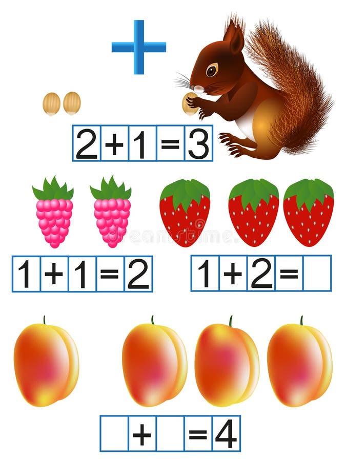Matemáticas, familiaridad con un signo más, adición libre illustration