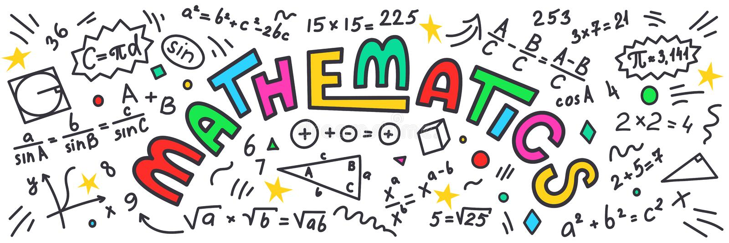 matematica Scarabocchi di per la matematica con iscrizione variopinta sul fondo bianco royalty illustrazione gratis