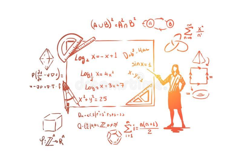 Matematico con il puntatore, la prova di teorema, gli strumenti della cancelleria, le equazioni complesse e le formule royalty illustrazione gratis