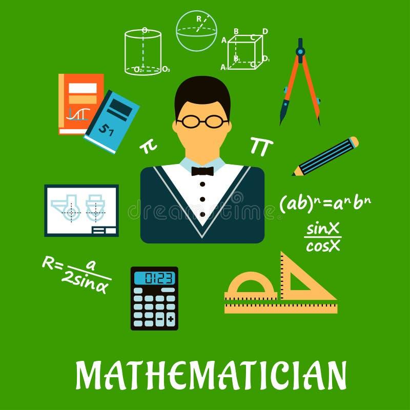 Matematico o insegnante con gli oggetti di istruzione illustrazione vettoriale
