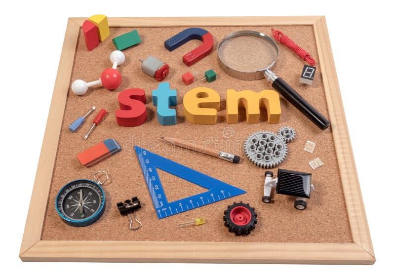 Matematik för vetenskapsteknologiteknik STAMord på korkbräde med utbildningsutrustning för bakgrund arkivfoton