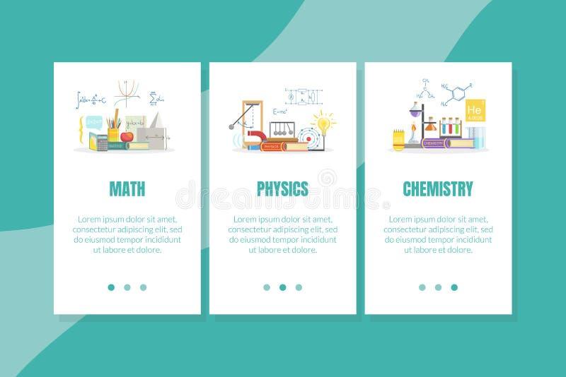 Matematik, fysik, kemikalielandningssidmall, Vector-illustration på webbplatsen för vetenskaplig utbildning vektor illustrationer