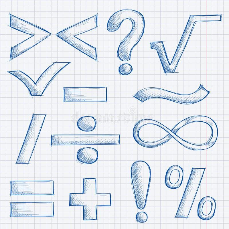 Matematik- och interpunktionssymboler Den drog handen skissar på fodrad pappers- bakgrund stock illustrationer