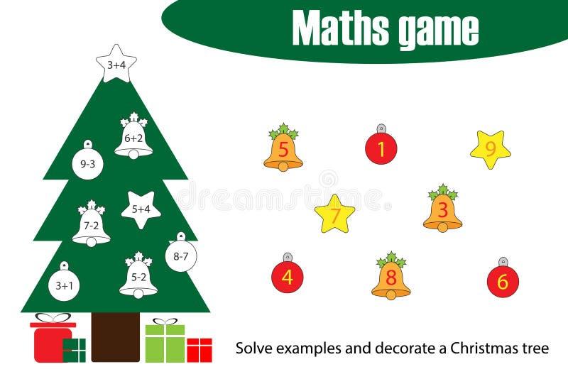 Matematik spelar med garneringjulträdet för barn, utbildning som räknar leken för ungar, förskole- arbetssedelaktivitet, uppgifte stock illustrationer