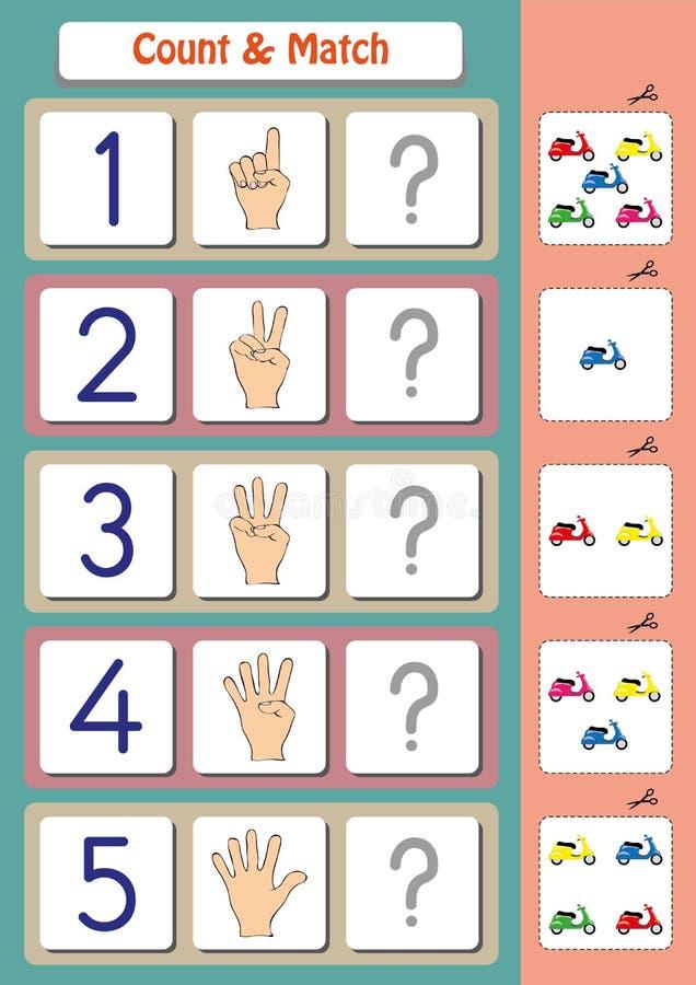 matematikarbetssedel för dagisungar, räkning och match stock illustrationer