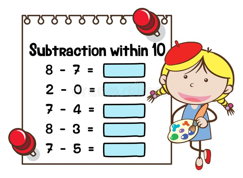 Matematikarbetssedelmall för subtraktion inom tio vektor illustrationer