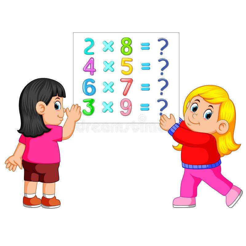 Matematikarbetssedelmall med två flickor vektor illustrationer